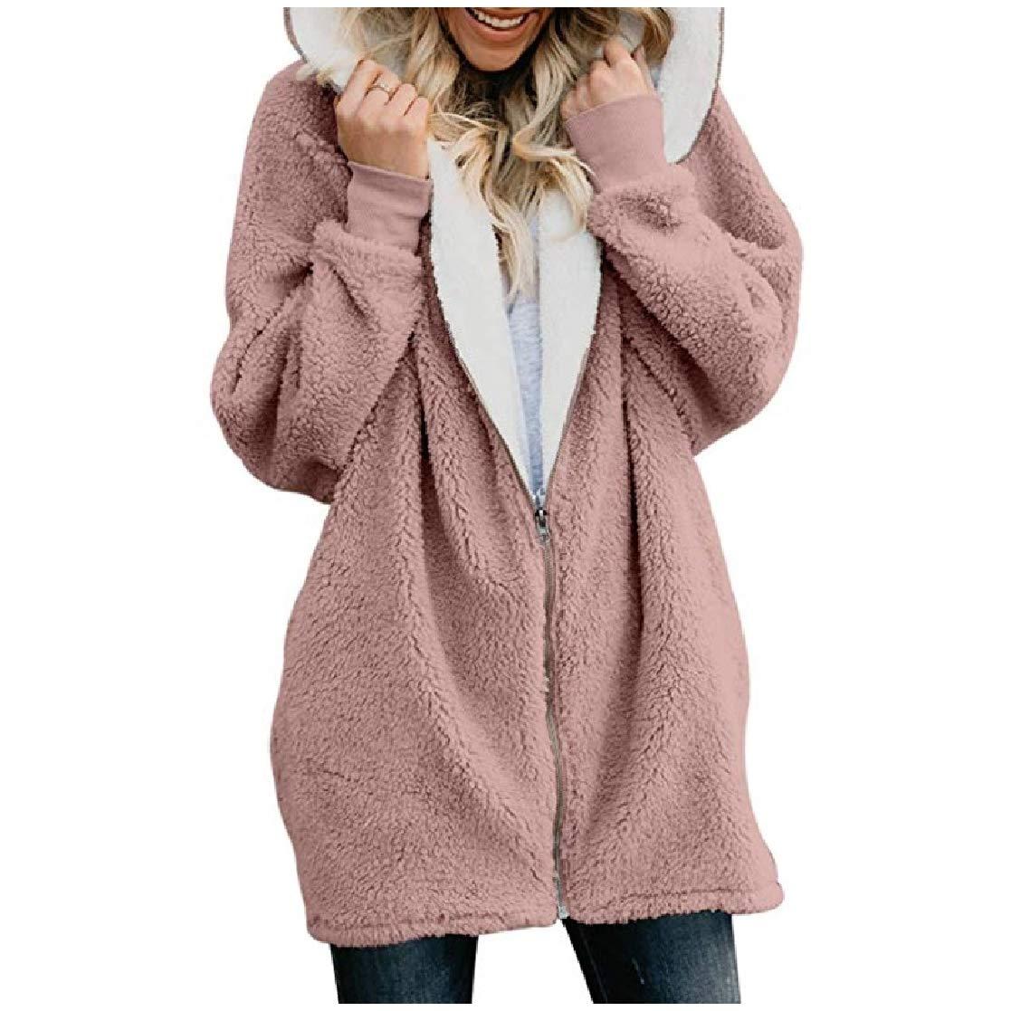 YUNY Women Mid-Long Warm Zip Up Hoode Velvet Relaxed Outwear Jacket Pink 3XL