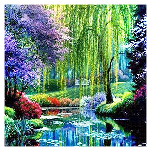 5D Diy Diamond Embroidery Willow Landscape Natural Scenery Diamond Painting Full Square Drill Home Decor (11.81X11.81 inch) (Diamond Sticks Willow)