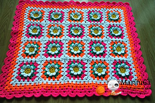 crochet baby flower blanket afghan pattern pdf by marifu6a: crochet baby flower blanket afghan (How To Crochet Pdf)