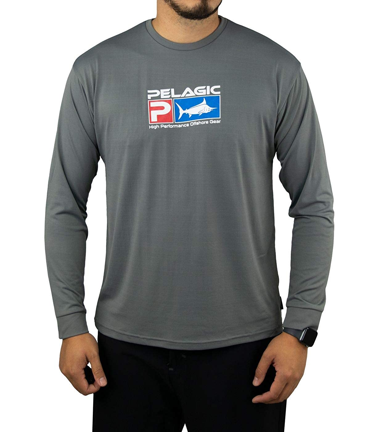 b55db630 Pelagic Men's Aquatek Long Sleeve Fishing Shirt | UV 50+ Sun Protection  Charcoal at Amazon Men's Clothing store: