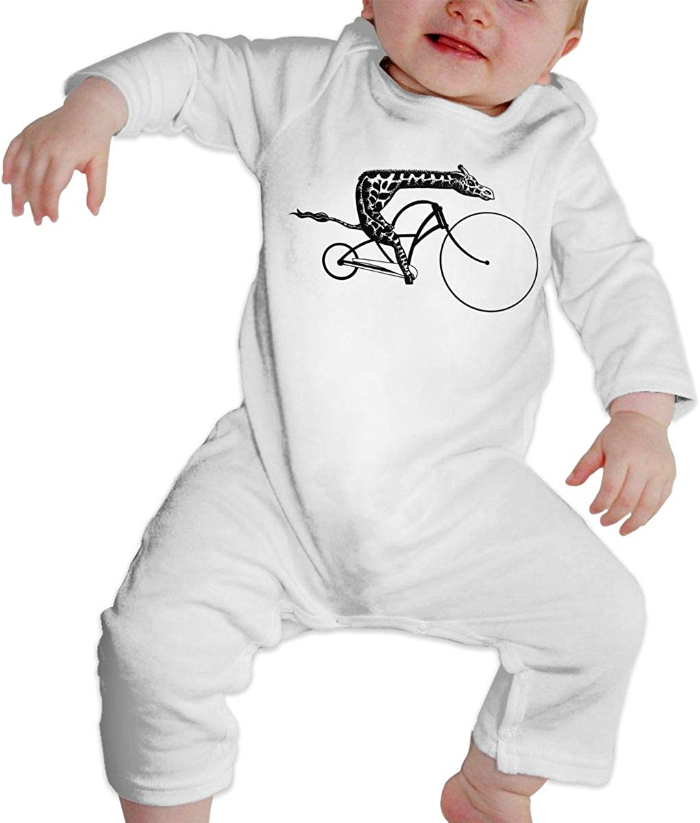 Giraffe On A Bike Printed Newborn Infant Baby Boy Girl One-Piece Suit Long Sleeve Outfits White