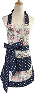 Leeotia Cotton Fabric Flirty Women's Apron with Big Pocket in Front Used for Home Baking or Kitchen Cooking (White Style-1)
