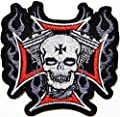 Red Cross Skull Ghost V twin Sheild Biker Punk Rock Heavy Metal Tatoo Patch Sew Iron on Embroidered Sign Badge