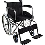 Mobiclinic, modelo Alcazaba, Silla de ruedas para minusválidos, premium, manual, plegable, ortopédica, de aluminio, freno en manetas, reposapiés, reposabrazos, color Negro, asiento, ultraligera