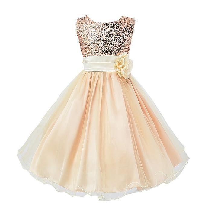 465425eb45600 Wocau Little Girls' Sequin Mesh Tull Dress Sleeveless Flower Party Ball Gown  (100(