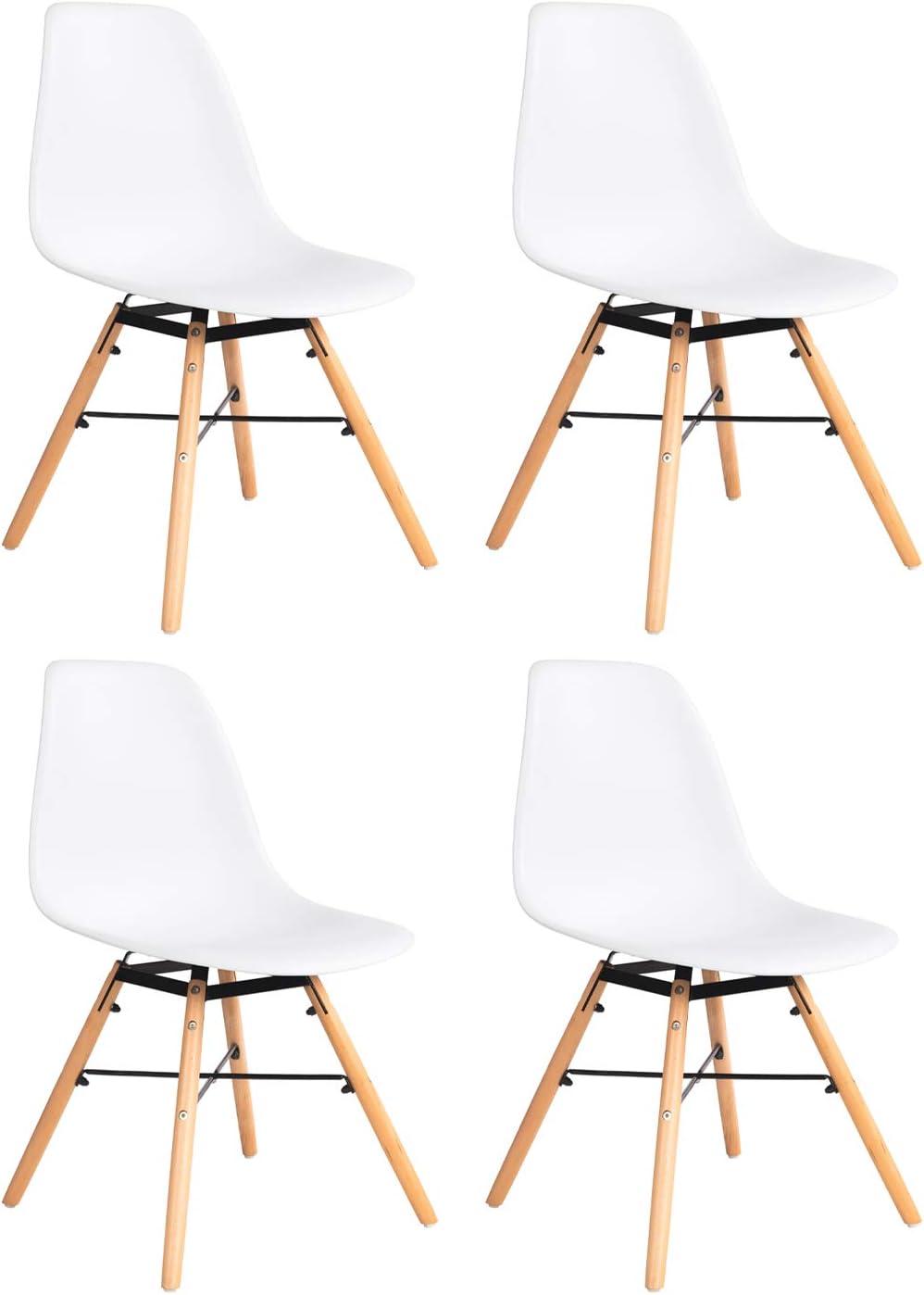 Pack de 4 Sillas de Comedor Silla de Plástico de Diseño Moderno Sillas de Madera Sillas de Oficina (Blanco)