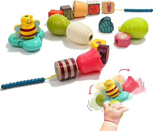 Stringing Beads Toddler Montessori Toys for 2 Year Old Girls and Boys Gifts TOP BRIGHT Wooden Lacing Beads for Kids