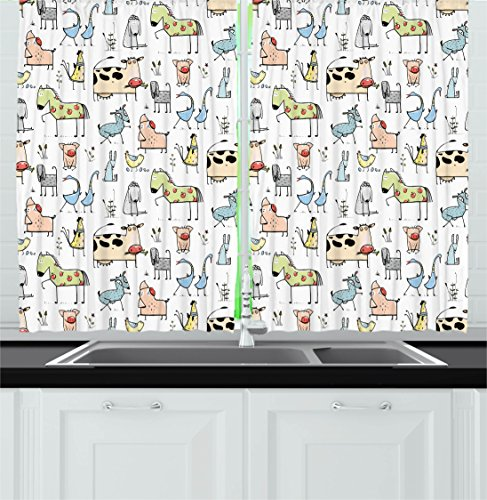 Ambesonne Animal Decor Kitchen Curtains, Cute Cow Horse Pigs Chicken Sheep Farmhouse Mascots Kids Nursery Baby Cartoon Print, Window Drapes 2 Panels Set for Kitchen Cafe, 55W X 39L inches, Multi by Ambesonne