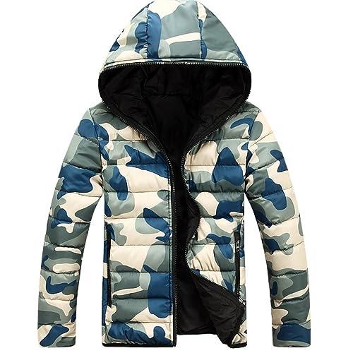 WTUS Abrigo con capucha de invierno para mujer,Camuflaje