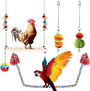 AsiFancy Chicken Swing Hanging Toy, Natural Wooden Chicken Ladder Perch Toys, Vegetable Skewer Fruit Food Hanging Holder Ball Toys for Hens Handmade Chicken Chicks Rooster Large Bird Parrot