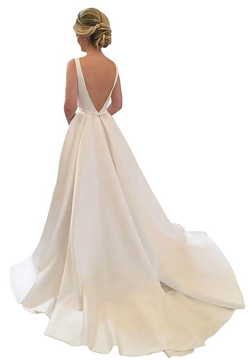 Lovelybride Westlicher Stil Empire-Taille R/ückenfrei Hochzeitskleider Lang Brautkleider
