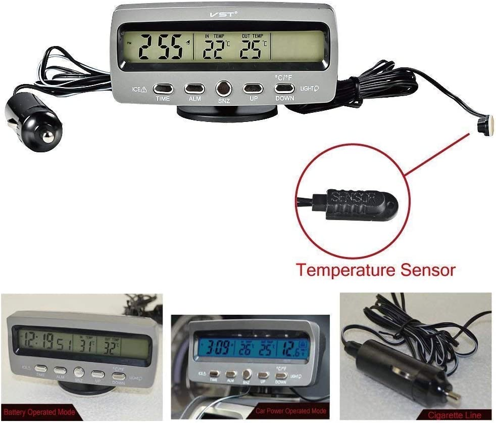 Indoor Temperature Minute MACHSWON Car Thermometer Car Digital Compass,Calendar,Clock,in /& Out Thermometer with Blue Backlight Hour Week Outdoor Temperature and Voltage