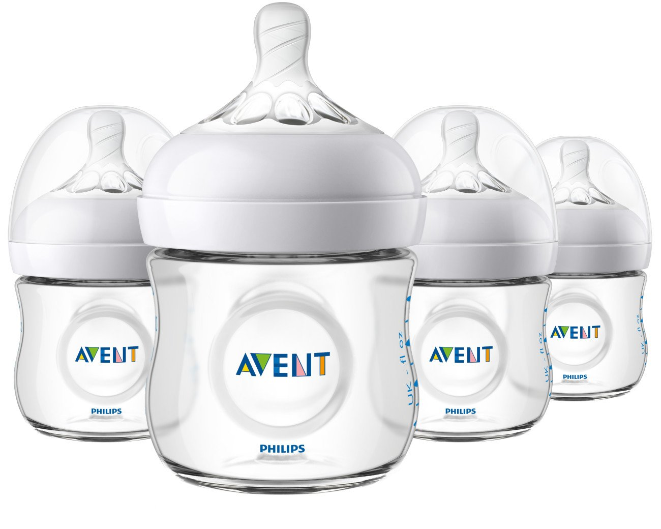 Philips AVENT Natural Baby Bottle, Clear, 4oz, 4pk, SCF010/47