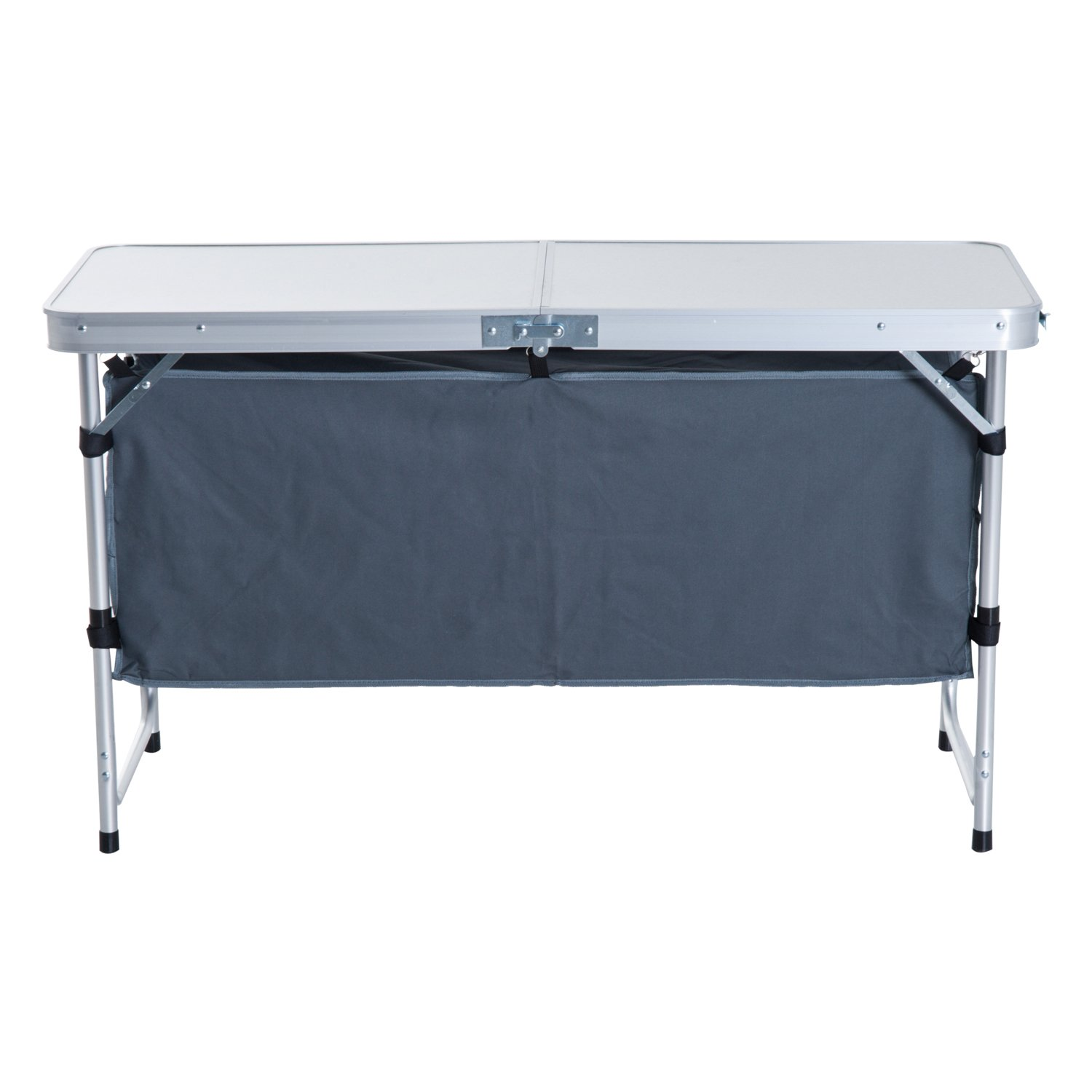 Outsunny Folding Picnic Table Portable Adjustable Camping Table Aluminum Outdoor Dining w// Storage Underneath