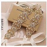 Yanstar Wedding Bridal Belts In Gold Rhinestone Crystal Pearl With Ivory Sash For Wedding Dress Prom Gown-17.7In1.6