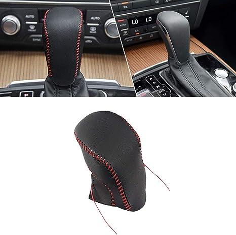 Pomello del Cambio Auto in Pelle Copertura Protezione per Automatico AT Pomello Bastone Cuciture Rosso Tipo A