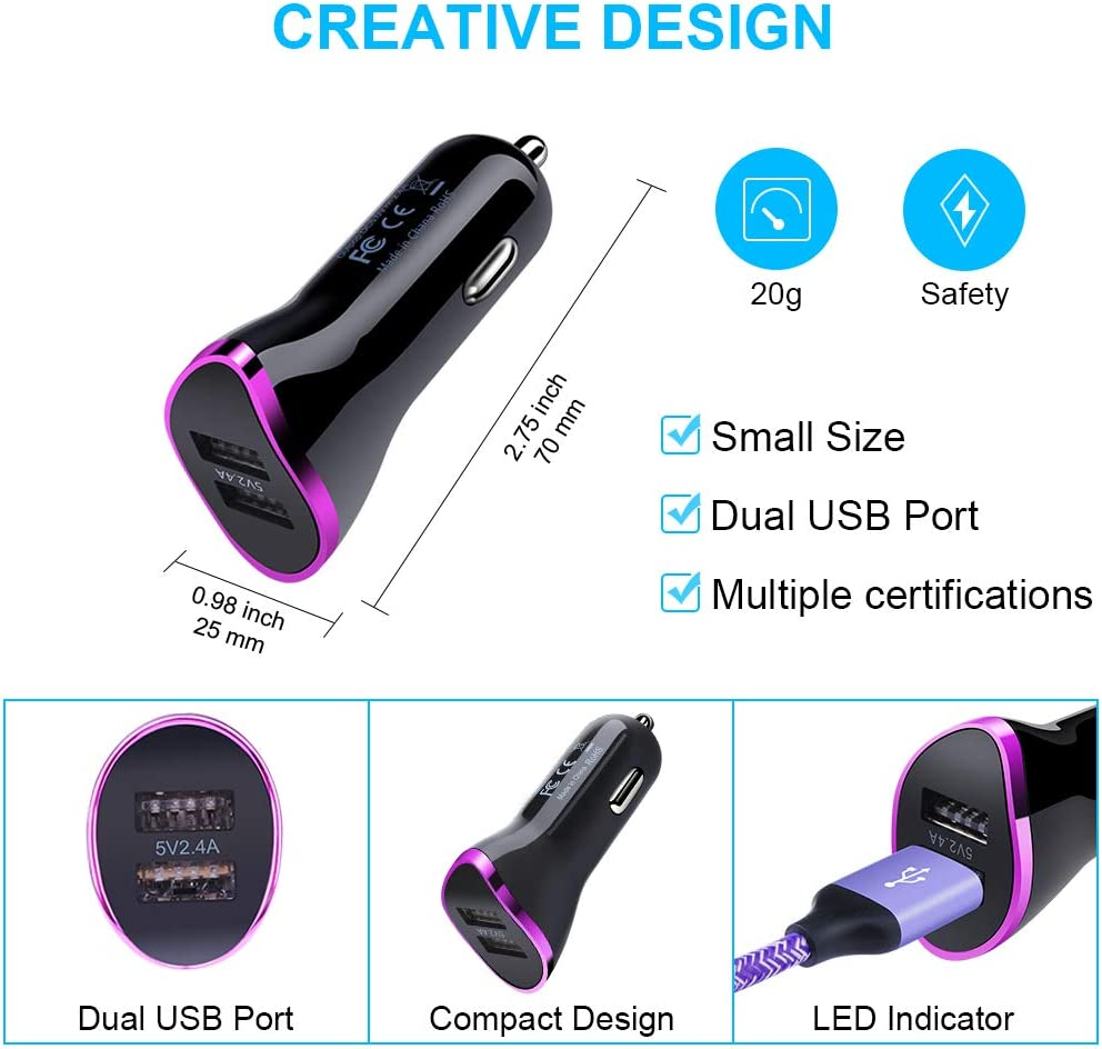Dual USB Port Car Charger LG Stylo 5//4 G8//G7 Google Pixel 4 xl//3a xl Car Plug with 2Pack 6ft Type C Fast Charging Cable Compatible Samsung Galaxy S10e S9 S8 Plus Note10+//9//8 A20E A50 A70 Purple