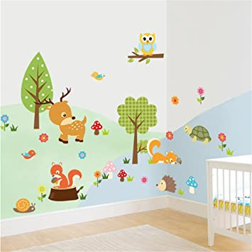 Wandtattoos Kinderzimmer | Ufengke Niedlichen Cartoon Waldtiere Kitz Eule Blume Und Baum