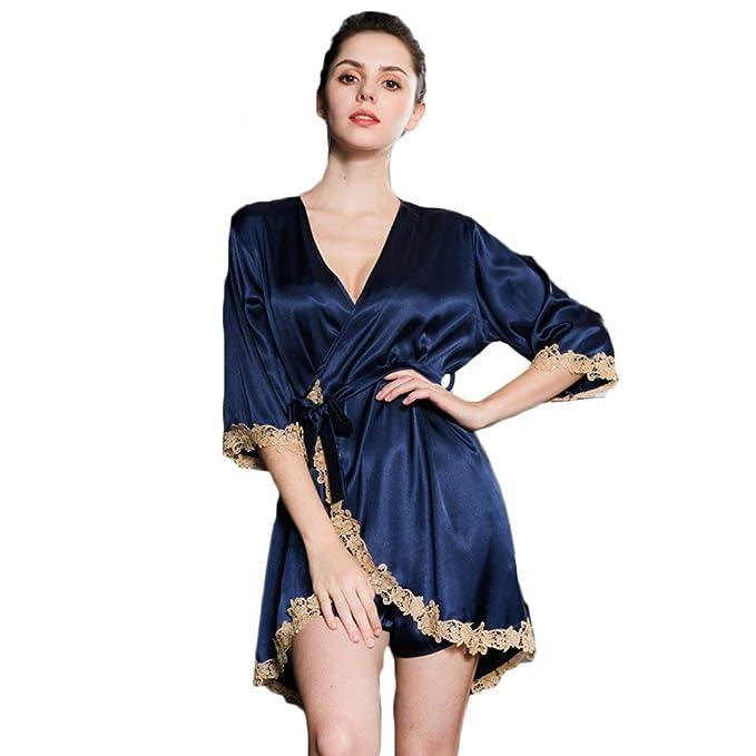 Mujer Pijamas Mujer Elegantes Colores Sólidos Pijama Primavera Otoño Señora Albornoz V-Cuello Mangas 3/4 Moda Splice Encaje con Cinturón Batas Camisones: ...