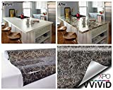 Grey Brown Veined Marble Gloss Vinyl Architectural Wrap for Home Office Furniture Wallpaper Tile Sheet 6.5ft x 15.9'' Roll (6.5ft x 15.9'' 2-roll pack)