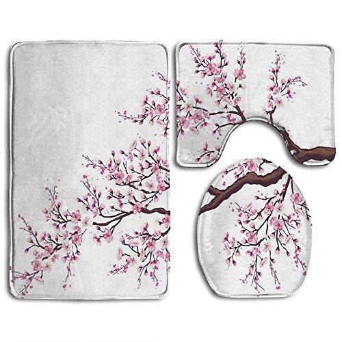 Guiping Branch Of A Flourishing Sakura Tree Flowers Cherry Blossoms Spring Theme Art Bathroom Rug Mats Set 3 Piece,Funny Bathroom Rugs Graphic Bathroom Sets,Anti-skid Toilet Mat Set
