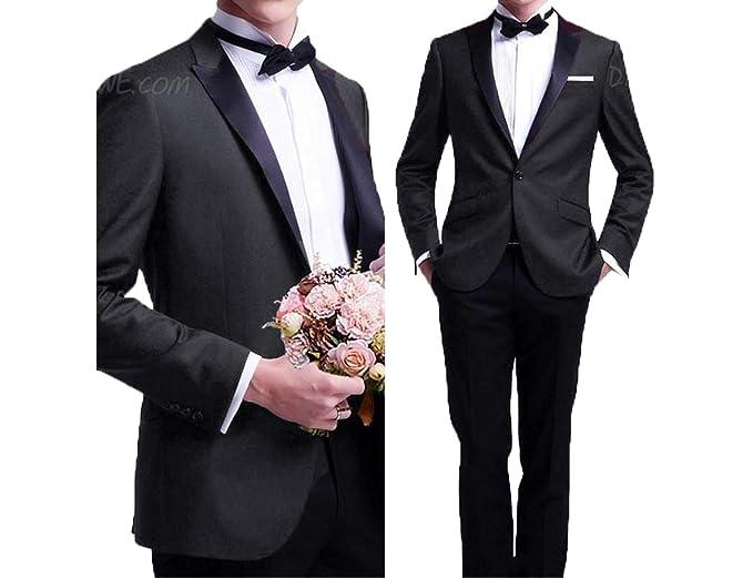 d09ec46a0f0626 Lilis® Men s 2 Piece Blazer Wedding Suits Groom Tuxedos Jacket   Pants Set  Prom Dress