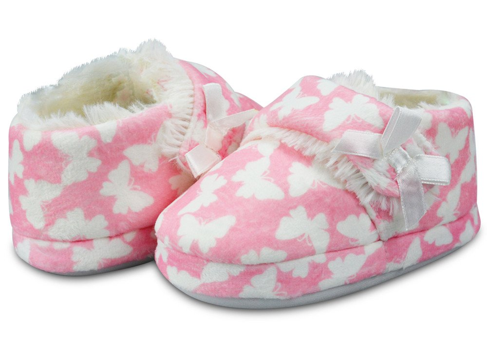 LA PLAGE Girl's Plush Fleece Warm Soft Cotton Slippers with Beautiful Butterfly Size 8 US Toddler Butterfly by LA PLAGE (Image #1)