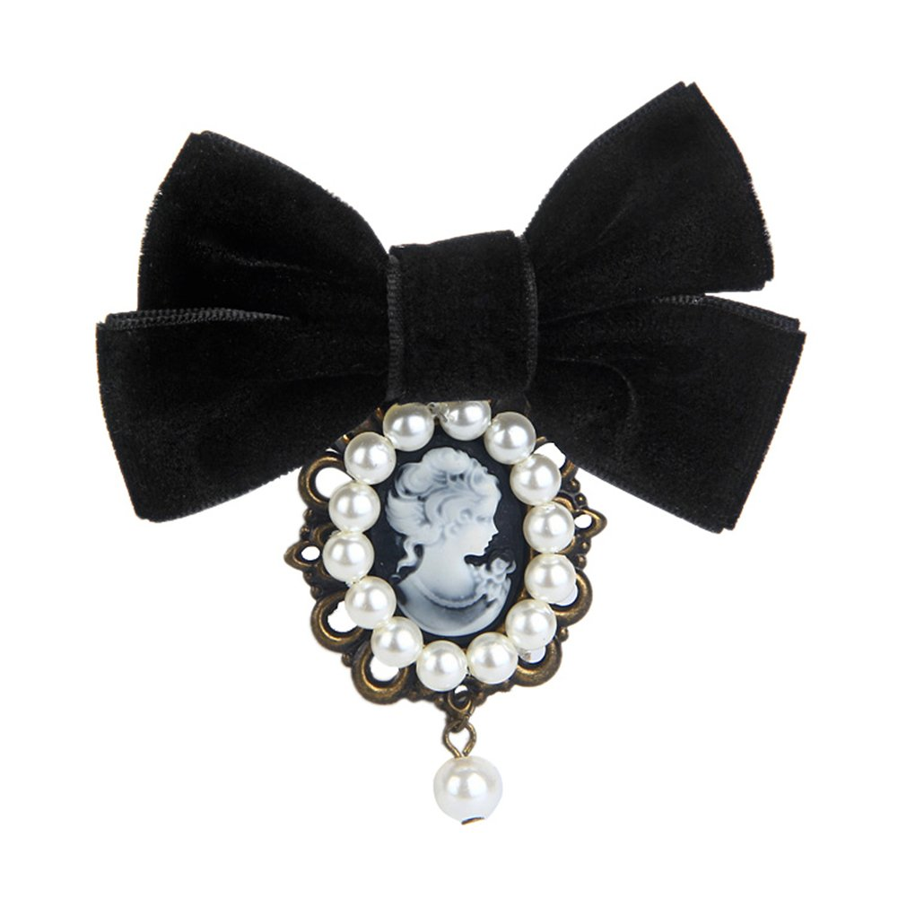 80HOU Women Cameo Pearl Brooch Velvet Bow Coat Jacket Sweater Lapel Collar Pin-Black