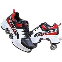 wdegr Zapatillas De Patines con 2 En 1 Patines Unisex Deformación Multifuncional Ruedas, Dobles Patines De Skate Retráctiles Rollerblades Deportes