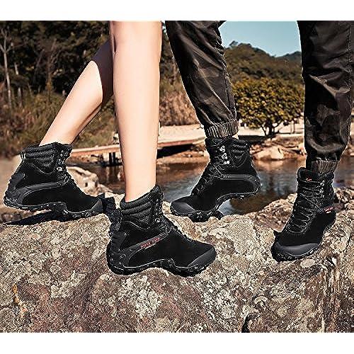 XIANG GUAN Femme Homme Chaussures de Randonnée Bottes Montants en Cuir Résistance à l'eau Outdoors Trekking Escalade Hiver
