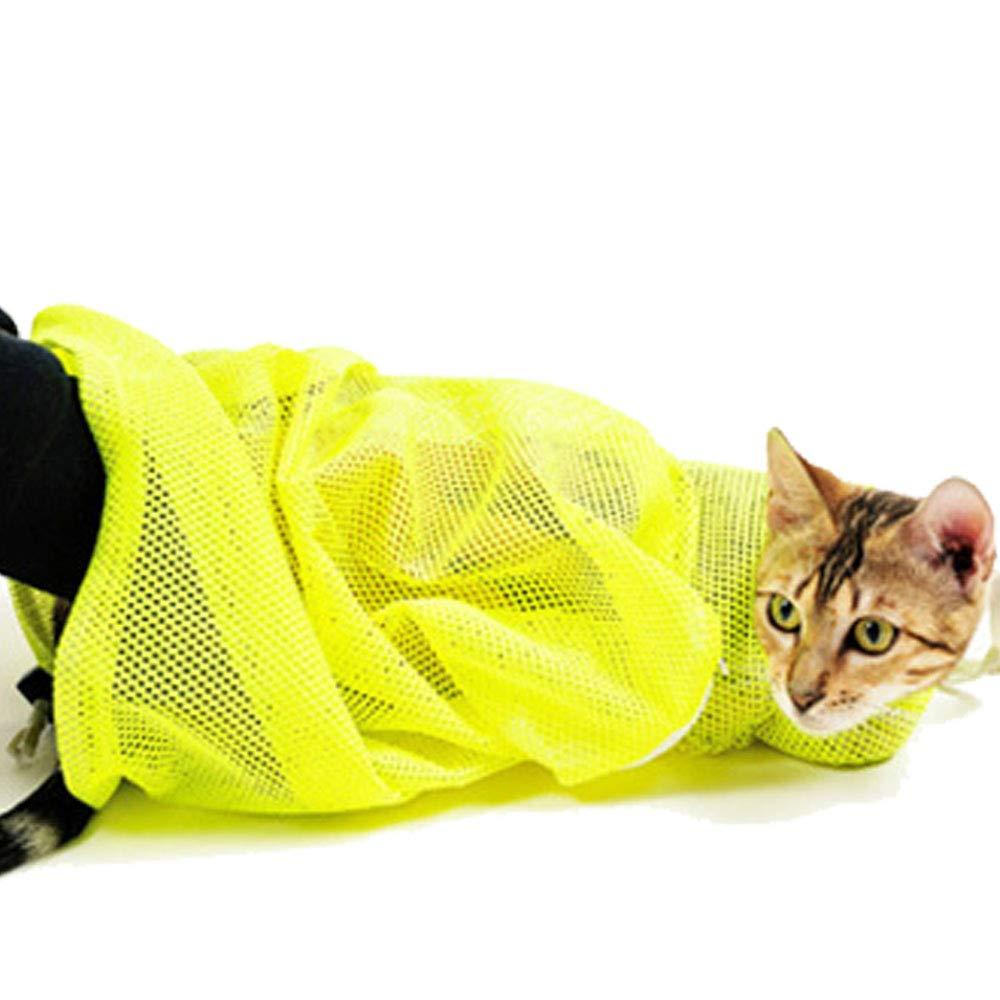 Cestlafit Pet chien chat Toilettage Gant Brosse de bain et lavage sac de transport, démêlage Gant et sac en maille polyester pour douche