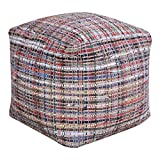 Woven Leather Multi Color Cube Pouf | Patchwork Ottoman Colorful Seat Square