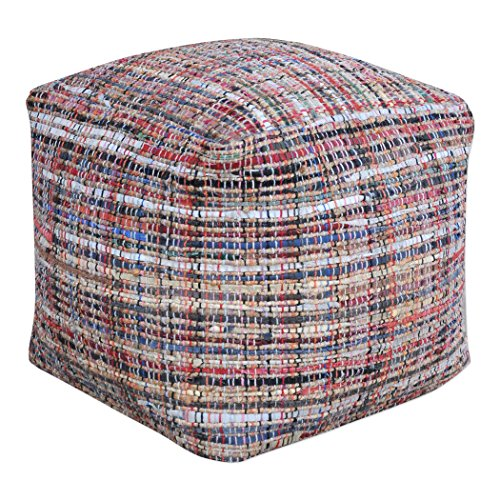 Woven Leather Multi Color Cube Pouf | Patchwork Ottoman Colorful Seat Square by My Swanky Home