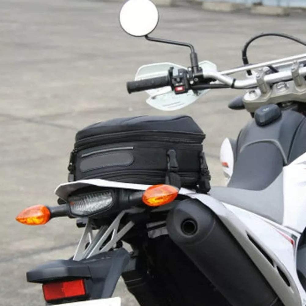Black Motorcycle Tail Bag Multi-functional Travel Rear Rider Large Capacity Back Seat Universal Sport Waterproof Cover Scooter Durable Tool Pack