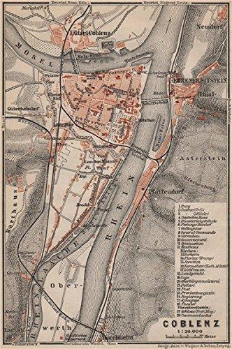 Karte Koblenz.Koblenz City Stadtplan Rheinland Pfalz Coblenz Ehrenbreitstein