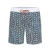 Bugatchi Men's Elastic Waist Modern Pattern Quick Dry Swim Trunks, Black, L