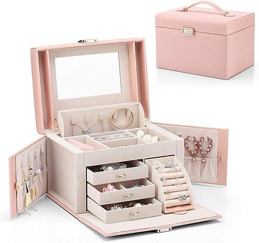 Vlando Jewelry Box Faux Leather Medium Jewelry Organizer Vintage Gift For Women Pink Cross Pattern Amazon Ca Home Kitchen