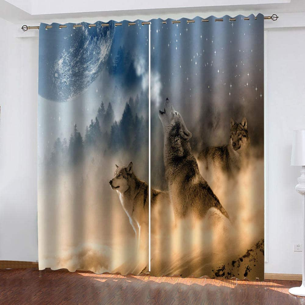 LIGAHUI Eyelet Blackout Curtains Animal dinosaur 2x W46x L54 inch Thermal Insulated Room Darkening Curtains for Plain Room darkening Nursery Bedroom Windows treatment