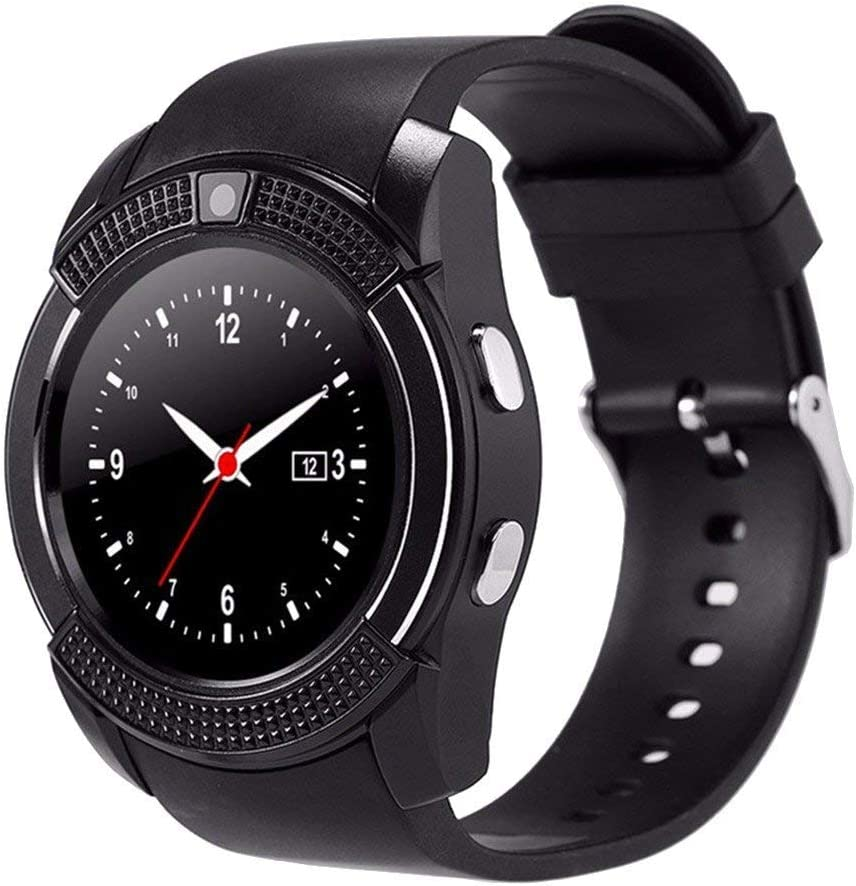 E- Commerce boina Bluetooth Pantalla Smart Watch Reloj Inteligente pulsera Circular de Compatible con tarjeta SIM y TF para Apple iOS Android phone. Black V8