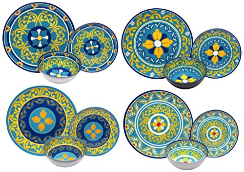 Melange 36-Piece 100% Melamine Dinnerware Set (Gardens of Italy Collection ) | Shatter-Proof and Chip-Resistant Melamine Plates and Bowls | Dinner Plate, Salad Plate & Soup Bowl (12 Each)