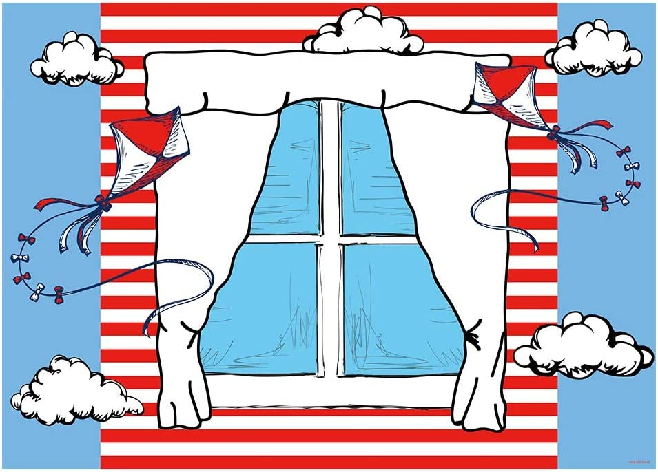 Funnytree 7x5FT Cartoon Window Kite Photography Backdrop Red White Stripes Background Kid Birthday Party Decoration Banner Supplies Photo Booth