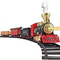 Train Set - 2020 Updated Electric Train Toy for Boys w/ Smokes, Lights &Sound, Railway Kits w/ Steam Locomotive Engine…