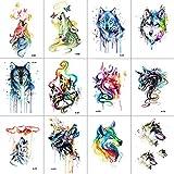 WYUEN 12 PCS/lot Wolf Temporary Tattoo Sticker for Women Men Fashion Body Art Adults Waterproof Hand Fake Tatoo 9.8X6cm W12-12