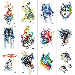 WYUEN 12 PCS/lot Wolf Temporary Tattoo Sticker for Women Men Fashion Body Art Adults Waterproof Hand Fake Tatoo 9.8X6cm FW12-01 (Wolf3)