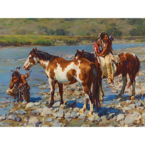 Bits and Pieces - 1000 Piece Jigsaw Puzzle for Adults - At the Rivers Edge - 1000 pc Native American Jigsaw by Artist Jason Rich