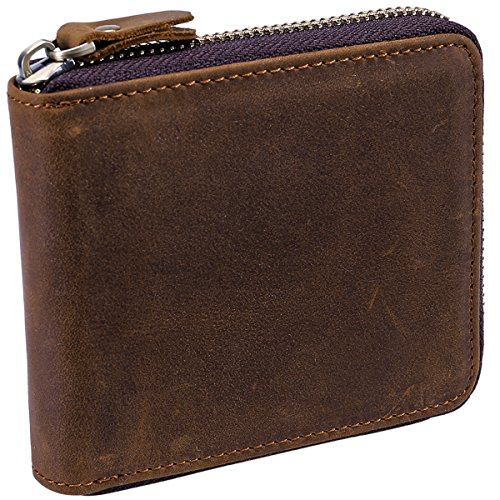 Itslife Men's RFID Leather Wallet Zipper Around Travel ID Case Zip Closure Bifold ()