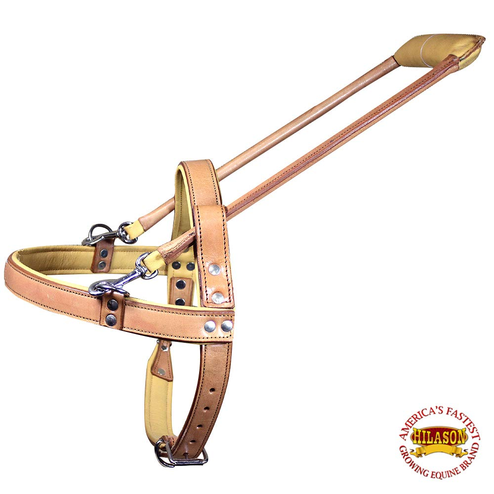 HILASON Tan Padded Genuine Leather Small Guide Dog Harness with Handle