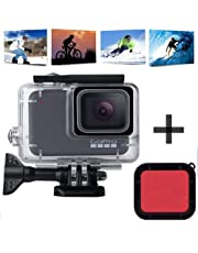 KOBWA Waterproof Housing Shell for GoPro Hero7 Silver/White, Underwater Diving Case Transparent Acrylic Protective Cover Session Action Camera Accessories 147ft