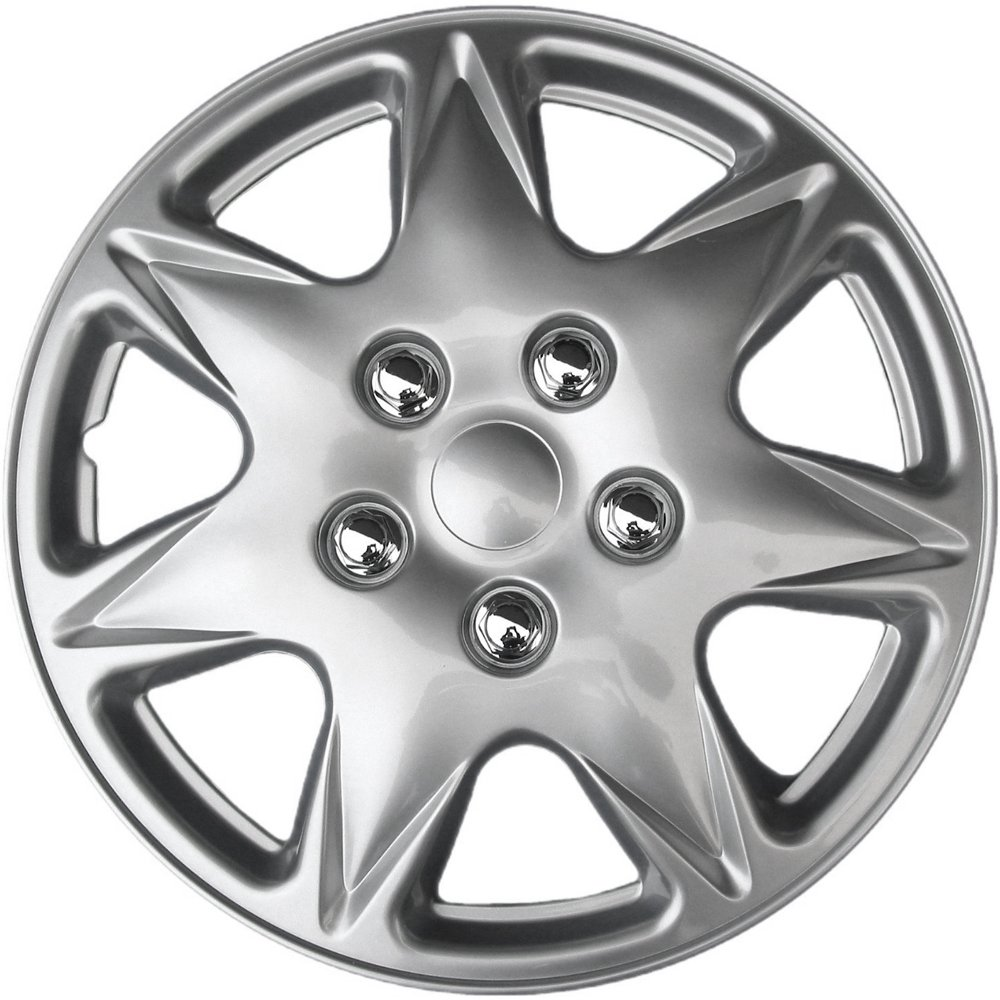 Snap On Hubcap Wheel Covers 17in Hub Caps Silver Rim Cover 17 inch Hubcaps Best for 2008-2012 Chevrolet Malibu - Set of 4 Car Accessories for 17 inch Wheels Auto Tire Replacement Exterior Cap
