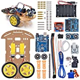VKmaker New Avoidance tracking Motor Smart Robot Car Chassis Kit Speed Encoder Battery Box 2WD Ultrasonic module with tutorial CD